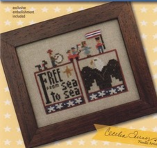 Free Double Up chart series patriotic cross stitch chart Heart In Hand  - $7.65