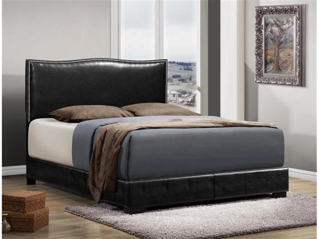 Crown Mark RB5270 Jesper King Size Bed Upholstery Black Contemporary Style