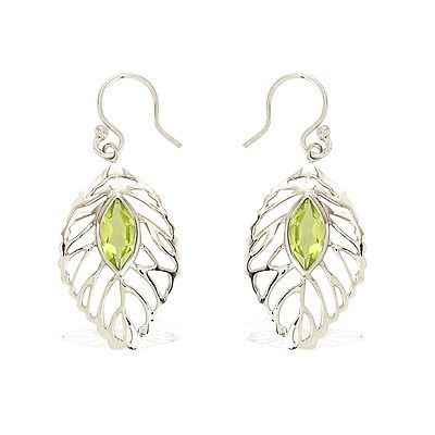 925 Sterling fashion women silver earring royal solid peridot gemstone SHER0205