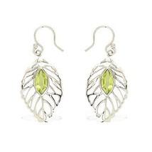 925 Sterling fashion women silver earring royal solid peridot gemstone SHER0205 - $17.11