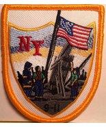 9/11 Memorial September USA Flag Iron-On Patch Biker Emblem Gold Border - $4.29