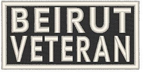 Primary image for BEIRUT VETERAN Iron-on Patch Biker Emblem White Merrow Border