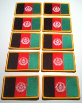10 Afghanistan Flag Biker Iron on Patch Emblem Gold Border - $29.95