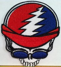 Skull Biker Iron On Patch Embroidered USA Biker Emblem - $4.29