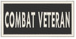 COMBAT VETERAN Iron-on Patch Biker Emblem White Merrow Border - $4.29