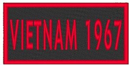 VIETNAM 1967 Iron-on Patch Biker Emblem Red Merrow Border - $4.29
