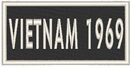 VIETNAM 1969 Iron-on Patch Biker Emblem White Merrow Border - $4.29