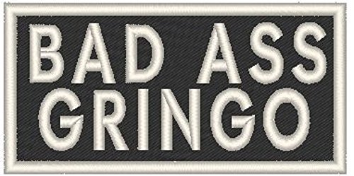 Primary image for BAD ASS GRINGO Iron-on Patch Biker Emblem WHITE Border
