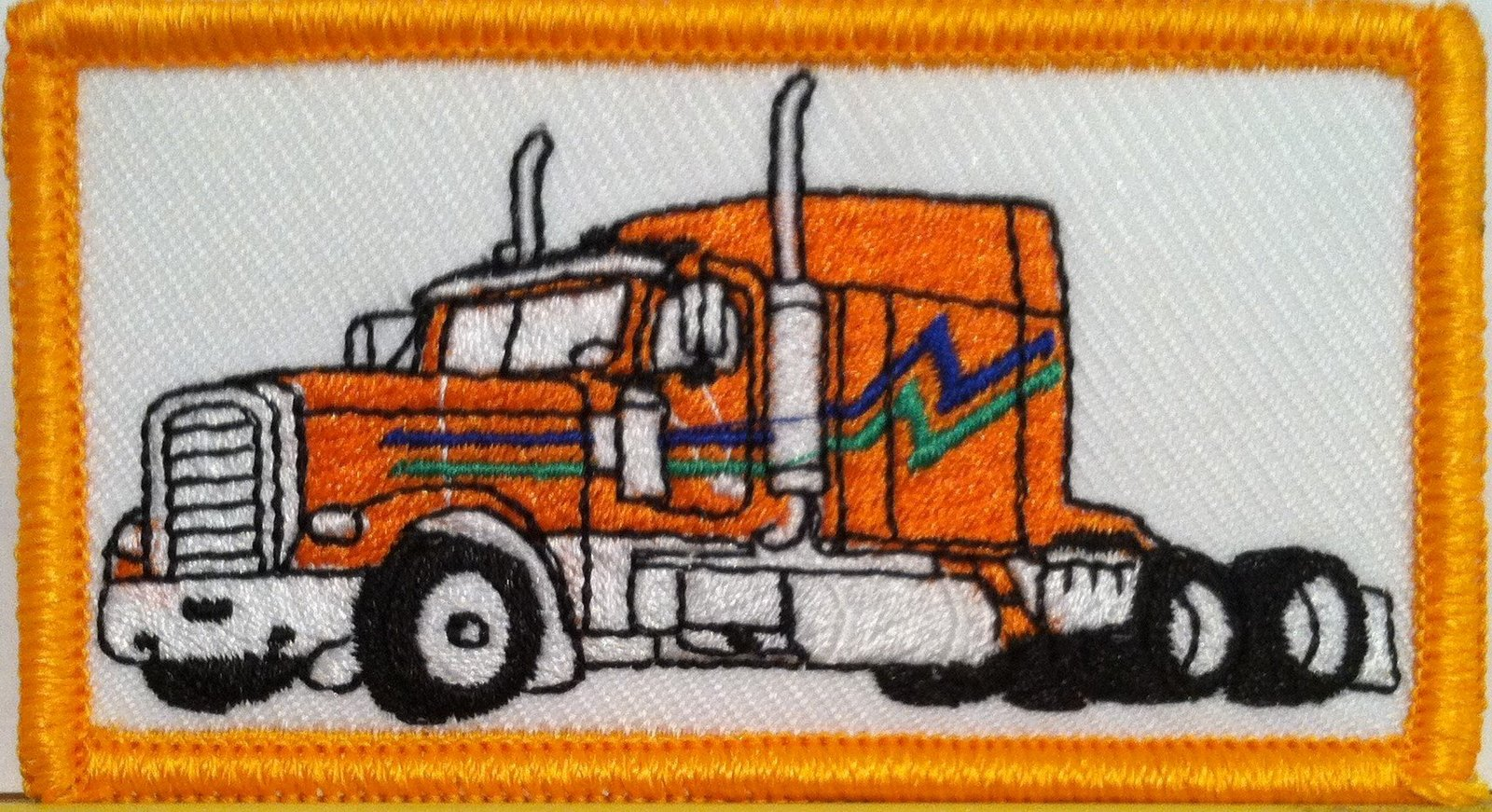 Primary image for ORANGE Color Truck Iron on Patch Truck Driver Emblem Gold Border