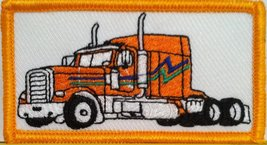 ORANGE Color Truck Iron on Patch Truck Driver Emblem Gold Border - $3.99