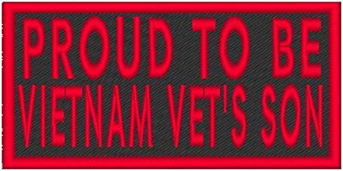 Primary image for PROUD TO BE VIETNAM VET'S SON Iron-on Patch Biker Emblem Red Merrow Border