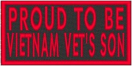 PROUD TO BE VIETNAM VET'S SON Iron-on Patch Biker Emblem Red Merrow Border - $4.29