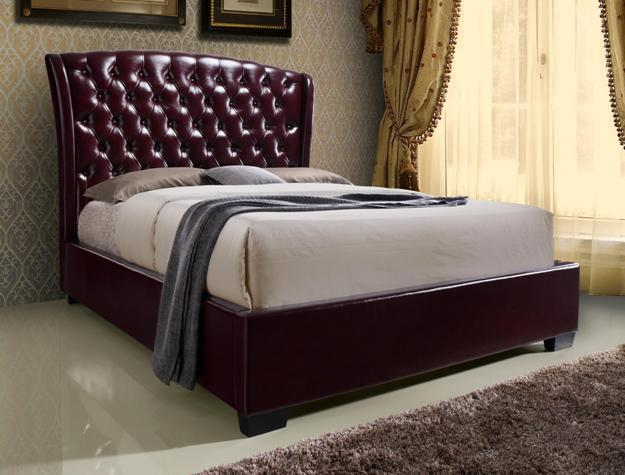 Crown Mark 5276 Kaitlyn Queen Size Bed Wine Upholstered Transitional Style