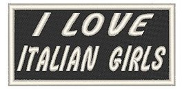 I LOVE ITALIAN GIRLS Iron-on Patch Emblem White Merrow Border - $4.29