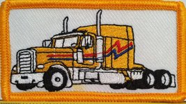 YELLOW Color Truck Iron on Patch Truck Driver Emblem Gold Border - $4.29