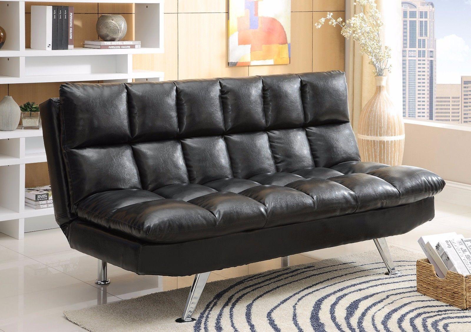 Crown Mark 5250 Sundown Adjustable Sofa Black Finish Transitional Style