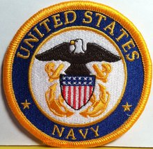 United States Navy Iron on Patch NAVY Emblem Gold Border - $5.99