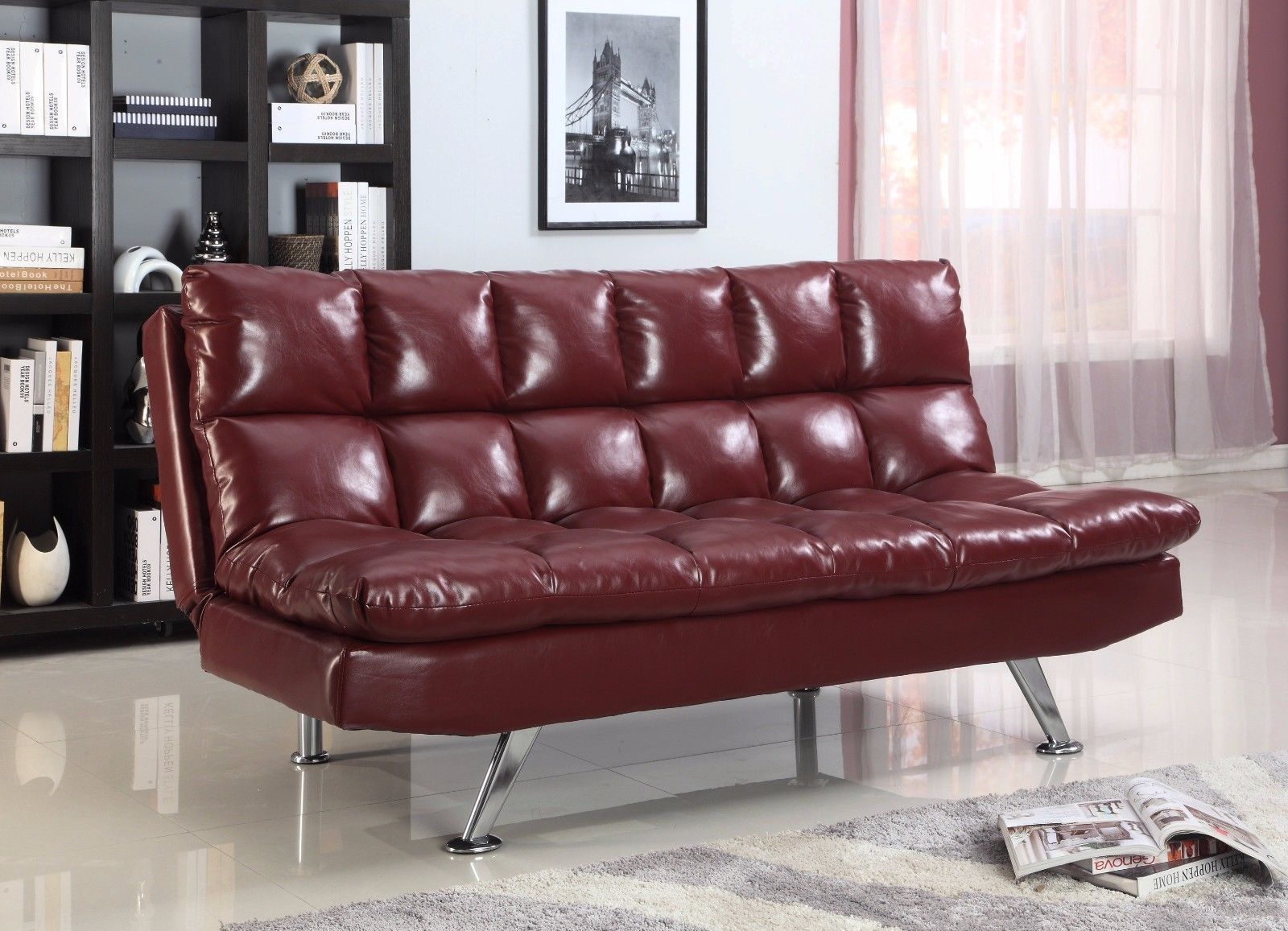 Crown Mark 5250 Sundown Adjustable Sofa Wine Finish Transitional Style