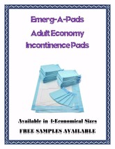 Incontinence Underpads  3-Ply Adult Economy 4-Sizes-FREE SAMPLES - $27.99+