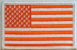 United States Flag with Orange and White Colors USA MC Biker Emblem Iron-on P... - $3.65