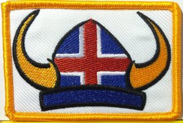 Viking Helmet with Iceland Flag Embroidery Iron-on Patch Gold Border - $3.99