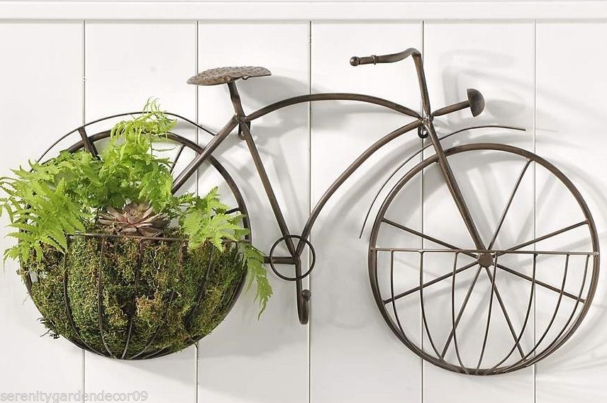 "31"" Iron Bicycle Design Dual Plant Holder Garden Wall Decor Piece"