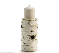 "Weathered Birch Wood Design Pillar Candle -9"" high Holds up to 4"" Pillar Candle"