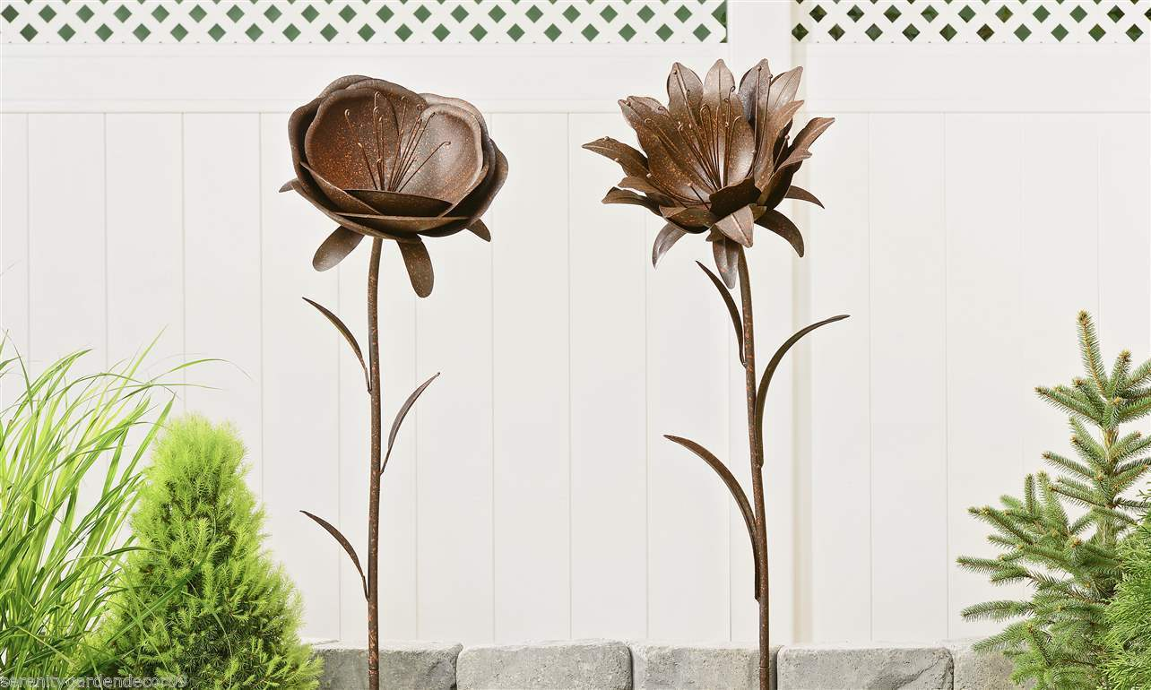 "Set of 2 - 55"" Iron Flower Garden Stakes Matte Brown Finish Double Pronged NEW"
