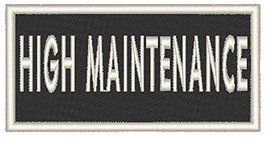 HIGH MAINTENANCE Iron-on Patch Biker Emblem White Merrow Border - $4.29