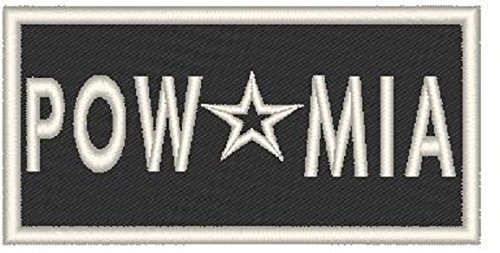 Primary image for POW * MIA Iron-on Patch Biker Emblem White Merrow Border