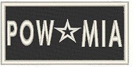 POW * MIA Iron-on Patch Biker Emblem White Merrow Border - $3.99