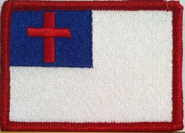 Christian Embroidery Iron-on Patch Biker Emblem Red Merrow Border - $4.29