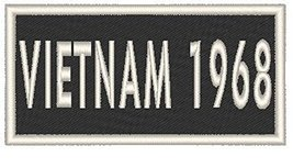 VIETNAM 1968 Iron-on Patch Biker Emblem White Merrow Border - $4.29