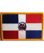 Dominican Republic Flag Embroidery Iron-on Patch Emblem Gold Border - $4.49