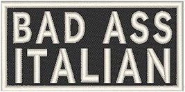 BAD ASS ITALIAN Iron-on Patch Biker Emblem WHITE Merrow Border - $4.09