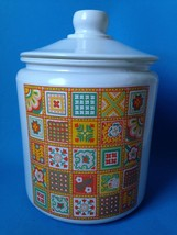 Vintage Painted Glass Cookie Jar Canister w Pat... - $34.59