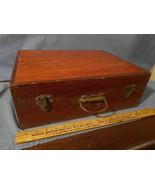 Large Heavy Antique vintage wood suitcase storage cabinet brass hardware - $49.49