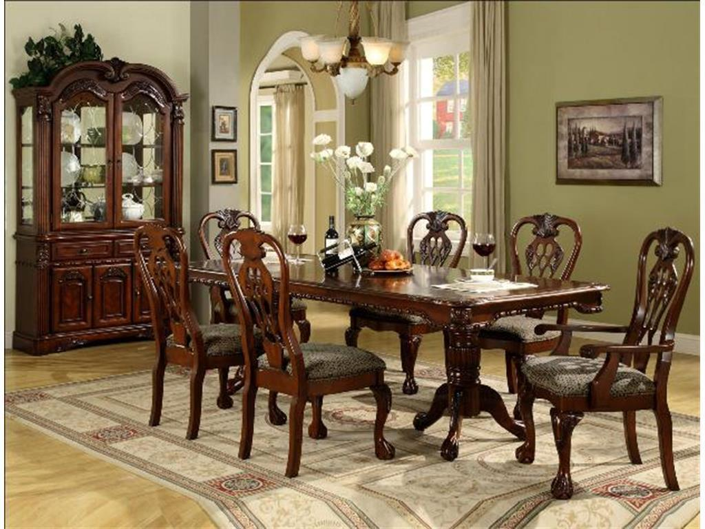 Crown Mark Traditional 2470 Brussels Brown Finish 5 Piece Dining Room Set