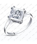 Solitaire Princess White Sim Diamond14K White Gold Fn.925 Silver Engagem... - $48.33