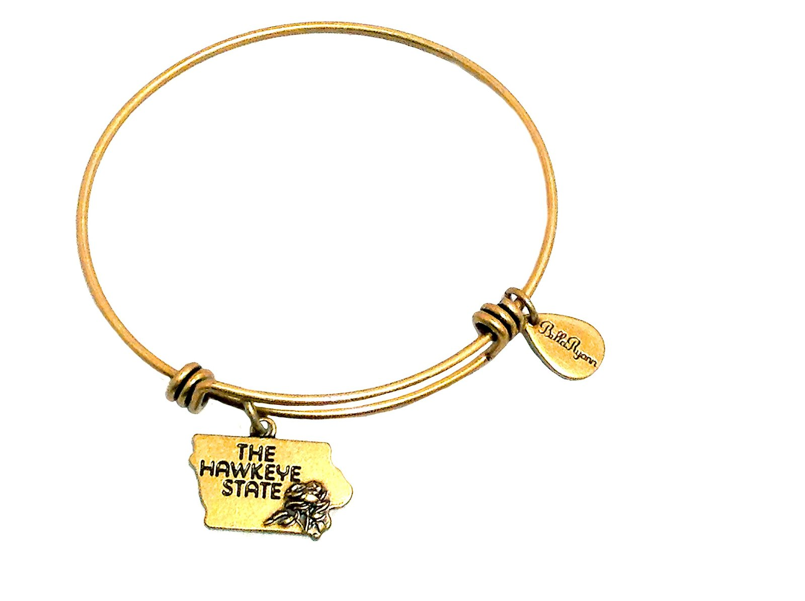 State of Iowa Charm Bangle Bracelet