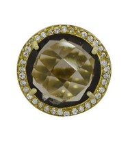 Smoky Quartz Princess Looking 925 Sterling Silver Gold Plated Ring Sz 7 SHRI0464 - $39.32