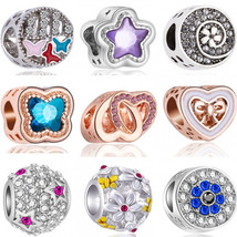 .925 Sterling Silver Heart Star Pandora Bracelet Compatible Charm Pendant - $5.95