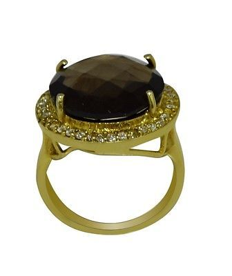 Smoky Quartz Princess Looking 925 Sterling Silver Gold Plated Ring Sz 7 SHRI0464