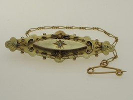Edwardian 9 ct Gold Brooch & Safety Chain Birmingham 1901 Locket. Diamond Set - $142.56