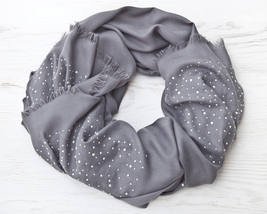 Gray Pashmina Scarf Valentines Day Gift Large Women Scarf Gift for Wife - £18.72 GBP