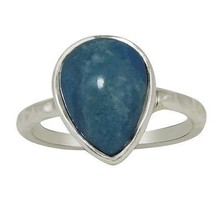 Pear Larimar Handmade 925 Sterling Silver Jewelry Band Ring Sz 7 SHRI0473 - $18.67