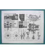 STEAMSHIPS Steam Engines Propellers - 1870s SUPERB Antique Print Engraving - $18.36
