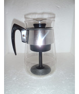 PYREX CORNING Clear Gold Stripe 6 Cup Coffee Pot Carafe Heatproof + Inners - $33.21