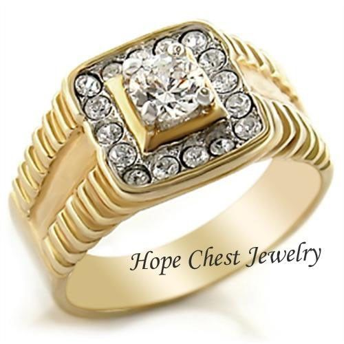 MEN'S TWO TONE 0.75 CT ROUND CUT  CUBIC ZIRCONIA WEDDING RING SIZE 11