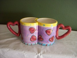 Bella Casa Mug set by Ganz, Heart shaped handles, they fit together. - $4.94
